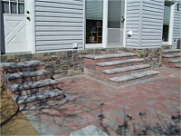 Patio With Sitting Walls & Stone Veneer